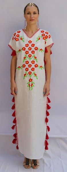 White multi-color Floral hand Embroidered Linen Folk Maxi tassels Dress. Sizes - XS-XXL 001