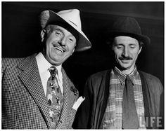"Photographer Gjon Mili (R) w. Warner Bros. Studios head Jack L. Warner on set of ""Jammin' the Blues,"" film being directed by Mili1944."