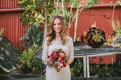botanical inspiration bride, succulent bouquet, dark red, dark pink bouquet  // Catie Coyle Photography // Events by Satra // The Cutting Garden at Flora Grubb Gardens