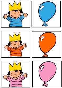 Pour l'apprentissage de couleurs Associer le garçon avec le bon ballon. Ou jeu de mémoire