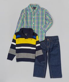 Love this Navy & Yellow Stripe Pullover Set - Infant, Toddler & Boys on #zulily! #zulilyfinds
