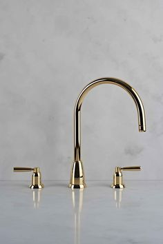 perrin & rowe transitional widespread lav faucet with lever handles and tall gooseneck spout in polished gold - the ultimate guide to luxury plumbing by the delight of design Bath Fixtures, Plumbing Fixtures, Bathroom Faucets, Bathrooms, Kitchen Taps, Kitchen And Bath, Gold Taps, Newport Brass, Kitchen Trends