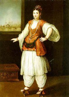 Turkish Costumes Portrait of a Sultana (Venetian School Century) Turkish Fashion, Italian Fashion, Medieval Clothing, Historical Clothing, Italian Renaissance Art, Empire Ottoman, Western Outfits, Western Costumes, Tribal Belly Dance