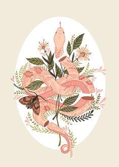 Priscila Barbosa explora tons suaves, universo feminino e botânica, interpretando-os de forma poética em suas ilustrações - Follow the Colours