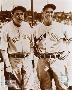 Babe Ruth & Lou Gehrig - I loved the Yankees as a kid - didn't know any better - that's who we saw every Saturday on TV, with Dizzy Dean and Peewee Reese. But we all have great respect for these two legends! Baseball Fight, Baseball Games, Sports Baseball, Baseball Players, Baseball Live, Baseball Stuff, Basketball Hoop, Baseball Records, Baseball Uniforms