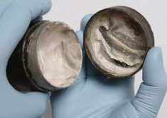 """museum-of-artifacts: """" roman face cream with visible, ancient fingermarks Preserved within a small tin canister, the cream was discovered during excavations by Pre-Construct Archaeology. Ancient Rome, Ancient History, Old Faces, Small Tins, Metal Containers, Look Younger, Year Old, Archaeology, Inventions"""