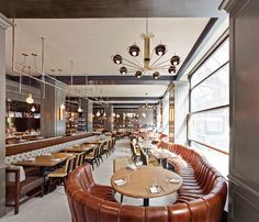 Found this pic online; it is the Wayfarer  in New York City. The brown booth seems to bolster on forever. Very neat.