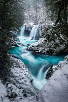 My buddy Steve has posted a shot from here during Spring and Fall here is what it looks like during Winter  Spirit Falls WA (OC)[639969] #reddit