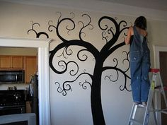 Do you want to create a beautiful mural in your home? It is easier than you think! Here are the supplies you'll need & directions to paint a tree mural.