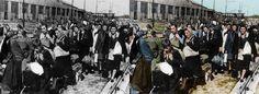 WW2 Polish women & children herded to cattle trucks for deportation to the Soviet Union 1940.