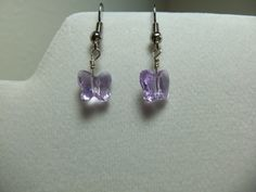 Purple butterfly earrings by DesignsbySarahMae on Etsy