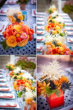 Spanish with a strong color palette of orange and blue: dahlias, astilbe, blue thistle, muscari, tulips, safflower, roses and geranium.