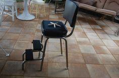 Vintage Industrial Step Stool  Chair Black Vinyl by RetroDaisyGirl, $73.00