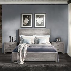 Grain Wood Furniture Montauk Bed in Rustic Grey. Also available in Driftwood and Barnwood. They come in both Queen and Full Sized. Not only does it offer a rustic chic style to your home, but it is also 100% eco-friendly! #GrainWood #Furniture