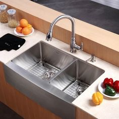 KRAUS 33 Inch Farmhouse Double Bowl Stainless Steel Kitchen Sink with NoiseDefend Soundproofing Stainless Steel Farmhouse Sink, Farmhouse Sink Kitchen, Modern Farmhouse Kitchens, New Kitchen, Kitchen Decor, Kitchen Sinks, Farm Sink, Kitchen Countertops, Farmhouse Style