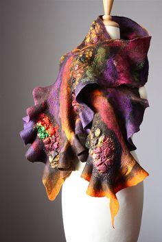 Felted scarf nunofelting wool silk  by VitalTemptation by VitalTemptation , Etsy, via Flickr