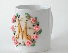Monograma taza grande taza de café taza personalizada polímero arcilla taza 3d único cumpleaños regalo Original decorada taza personalizada taza su y suyo tazas