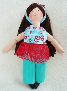 Brunette Dress Up Doll  OOAK Toy For Kids by JoellesDolls on Etsy