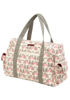 elephino tote: canvas bag with pink/gray elephant print