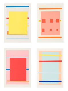 inspiration - IMI KNOEBEL Untitled, 1996 Suite of 4 color lithographs with hand-stencil printing 24 x 16 in. / 61 x cm. each Edition of 60 Art And Illustration, Palette Pastel, Imi Knoebel, Ouvrages D'art, Color Studies, Art Design, Geometric Art, Graphic Art, Print Patterns