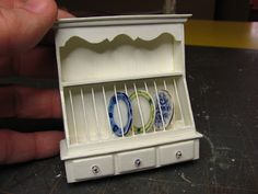 Dollhouse Miniature Furniture - Tutorials | 1 inch minis: 1 INCH SCALE WALL HUNG DISH RACK TUTORIAL - How to make a wall hung dish rack from mat board in 1 inch scale.