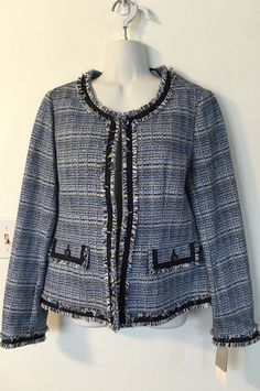 Charter Club Blue Tweed Jacket Blazer Size M Collarless Fringe Cotton Blend NWT #CharterClub #Blazer