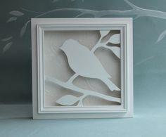 Pájaro de madera blanco 3D arte de la pared, decoración de pared silueta de…