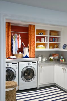 51 Wonderfully clever laundry room design ideas -- great colors, so bright and cheery