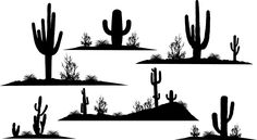 Cactus Silhouette, Silhouette Painting, Silhouette Clip Art, Art Room Posters, Mexico Art, Art Template, Art Challenge, Letter Art, Pictures To Paint
