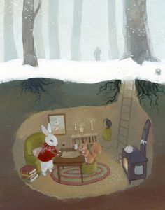 Rabbit and Squirrel Burrow Painting - Art Print - Childrens Book Illustration Art And Illustration, Squirrel Illustration, Illustration Children, Lapin Art, Rabbit Art, Rabbit Hole, Winter Pictures, Cute Art, Childrens Books
