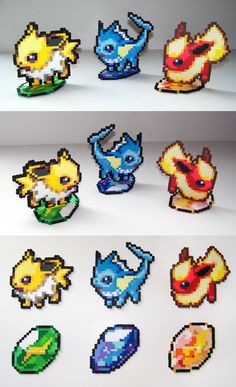 Eeveelutions Set with Evolution Stone Stands by NerdyNoodleLabs.deviantart.com on @deviantART