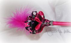 pink and black leopard print feather pen from amandaink pens on etsy.com: $14
