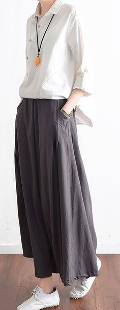 new fashion black linen skirts baggy loose maxi skirts