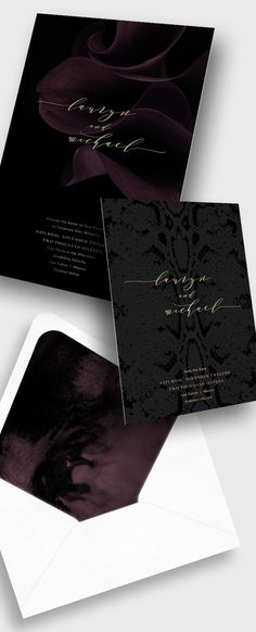 BLISS & BONE / The Skinny Confidential Invitation Suite / Stationery Inspiration / Black wedding invite design with gold foil calligraphy / Modern Moody Monochromatic Florals / Dramatic / Calla Lily Flower Prints / Letterpress / The LANE