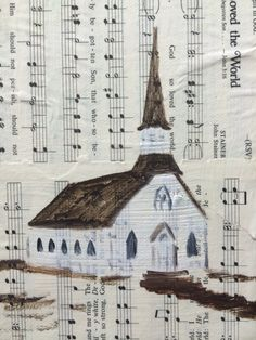 $25 wall art print A country church oil painting on old hymns. Work by Memphis artist, Dorothy Collier. www.dorothycollier.com