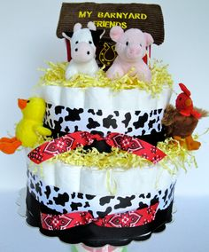 Baby Diaper Cake  Farm Animal Baby Shower by DomesticDivaDesignz, $92.00