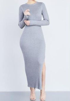 Grey Plain Irregular Side Slit Long Sleeve Casual Knit Sweater Maxi Dress