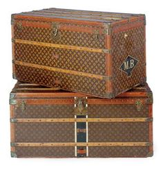 Vintage Louis Vuitton steamer trunks. I can just imagine Peggy Guggenheim traveling Europe with one of these. Classic style. #JetsetterCurator