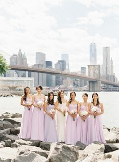 Lavender 'maids: http://www.stylemepretty.com/new-york-weddings/new-york-city/brooklyn/2015/04/30/elegant-summer-wedding-at-river-cafe/ | Photography: Judy Pak - http://www.judypak.com/