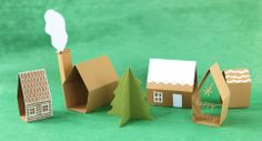 "PAPER VILLAGE: make these houses and trees to place in strategic locations on a floor mat ""city"" - a big advantage is that they fold flat and can be tucked inside the folded-over mat behind a bookcase or other furniture."