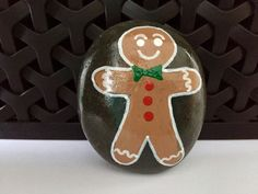Gingerbread Man Painted Rock - Christmas Hand-Painted Rock by AlleluiaRocks on Etsy