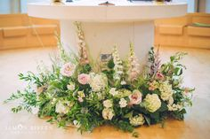 Window ledge arrangement placed on floor in front of cake table to make a feature? Window ledge arrangement placed on floor in front of cake table to make a feature? Church Wedding Flowers, Altar Flowers, Church Wedding Decorations, Wedding Altars, Altar Decorations, Easter Flower Arrangements, Beautiful Flower Arrangements, Wedding Flower Arrangements, Floral Arrangements