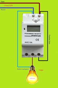 Esquemas eléctricos: programable time switch                                                                                                                                                                                 Más Electrical Panel Wiring, Electrical Circuit Diagram, Electrical Installation, Electrical Tools, Electrical Engineering, Electric House, Electric Motor, Diy Electronics, Electronics Projects