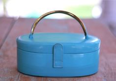 Vtg 50s Turquoise Blue Leather Box Purse