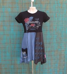 Upcycled Baby-Doll Tunic, Upcycled Clothing, Recycled T-Shirts, Size Small