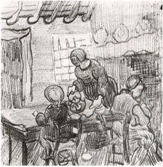Child and Woman Pouring Coffee Vincent van Gogh Drawing, Black chalk Saint-Rémy: March - April, 1890
