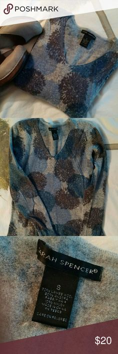 Gray/blue lambswool blend sweater Pretty blue/gray lightweight lambswool/angora sweater.  Looks like boden, but not... just listed for exposure. Fits a snug small. Boden Sweaters