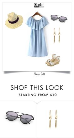 """""""Sunny"""" by shopper-girl91 ❤ liked on Polyvore featuring denim, dress, hat, sunglasses and sunny"""