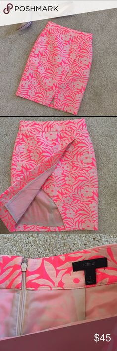 "J Crew brocade skirt J Crew faux-wrap tulip skirt in a hot pink and pale pink brocade pattern! Super-fun skirt, pairs well with a fitted tee or silk button-up. Sits at true waist. Hidden rear zipper. Size 2. Waist measures 13.5"", hips measure 18.5"", and length is 23"". Fits me perfectly and I am a 27"" waist normally. Excellent condition. J. Crew Skirts Pencil"