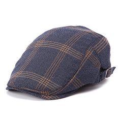 2f9460f70d7 Men Cotton Blank Grid Beret Cap Belt Buckle Adjustable Casual Cabbie...  ( 9.65